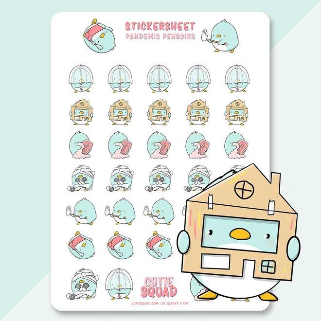 CutieSquad Sticker sheet - Pandemic penguins
