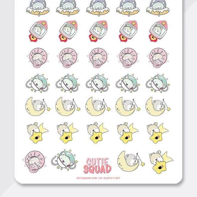CutieSquad Stickervel - Hamsters in space