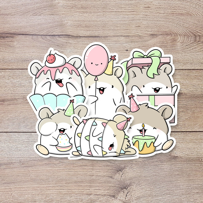 Sticker set - Birthday Hamsters