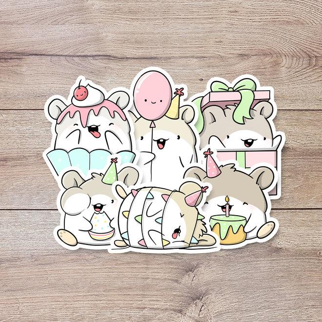 Stickerset - Birthday Hamsters
