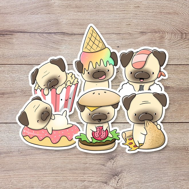 Stickerset - Pugs with food