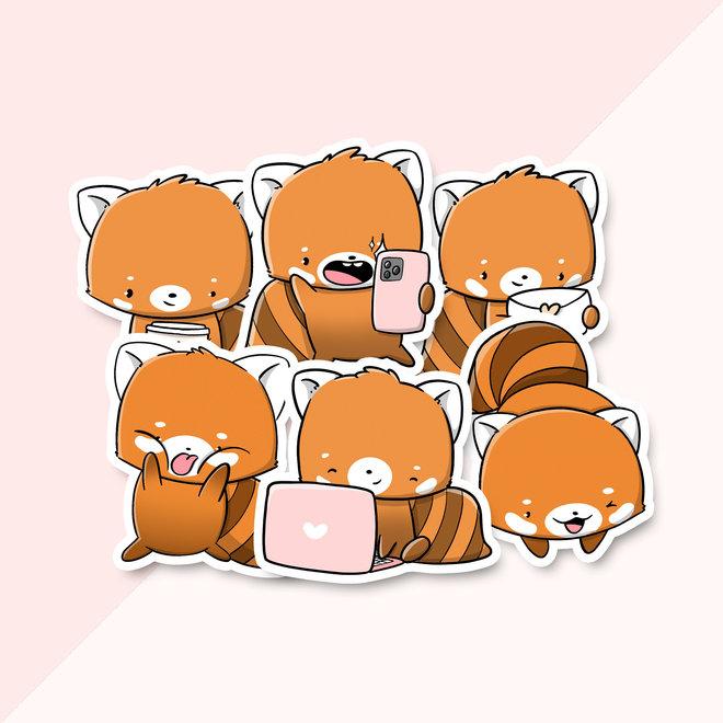 Sticker set - Kawaii Red Pandas