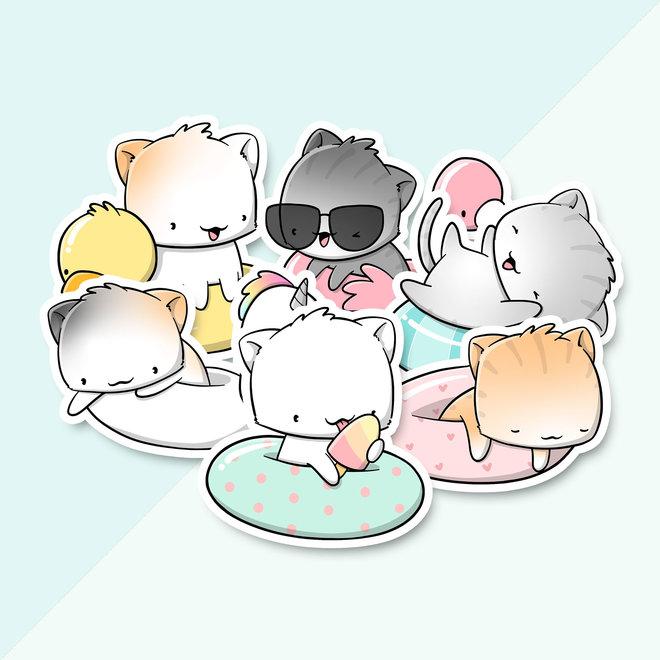 Sticker set - Pool float cats