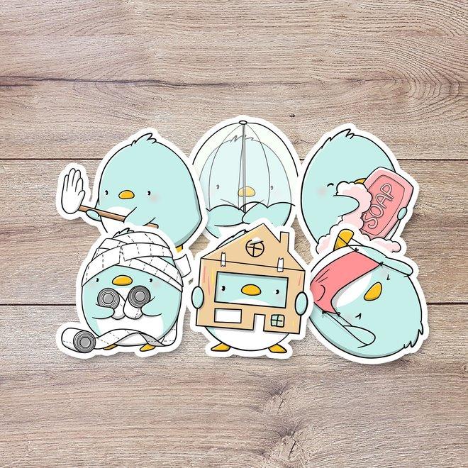 CutieSquad Sticker set - Penguins in Quarantine