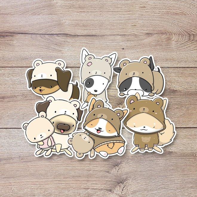 Stickerset - Teddy dogs