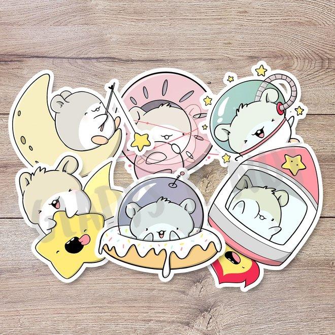 Sticker set - Hamsters in space