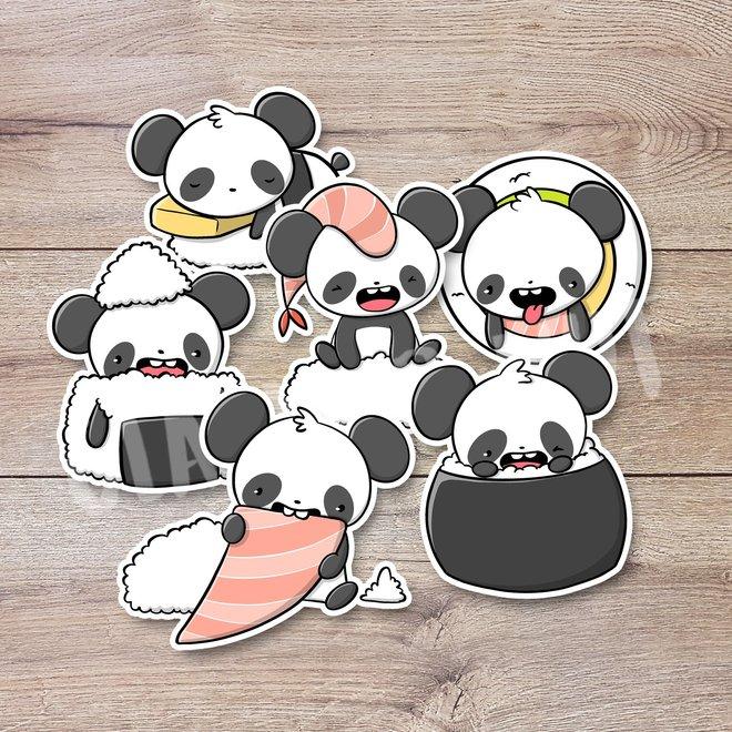 Sticker set - Pandas Sushi