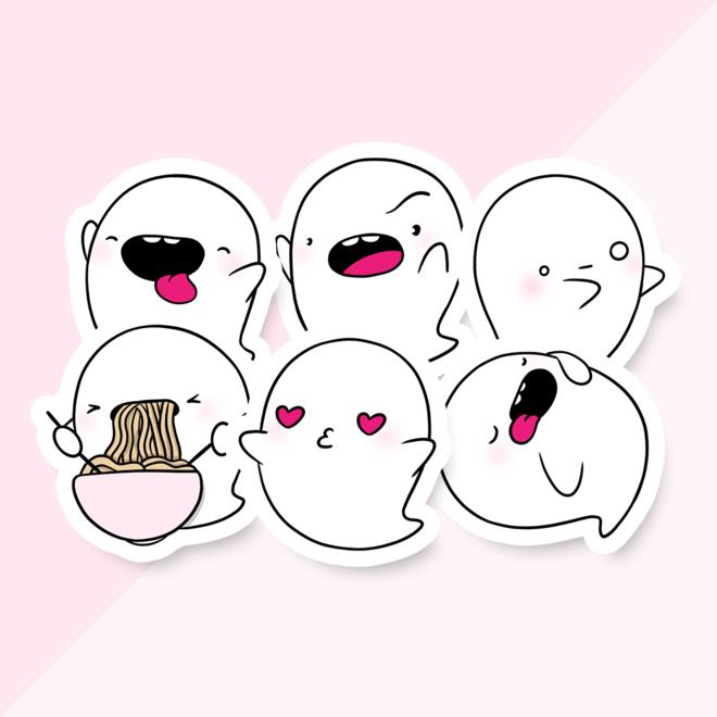 Sticker set - CuteStuff Ghost Yuki