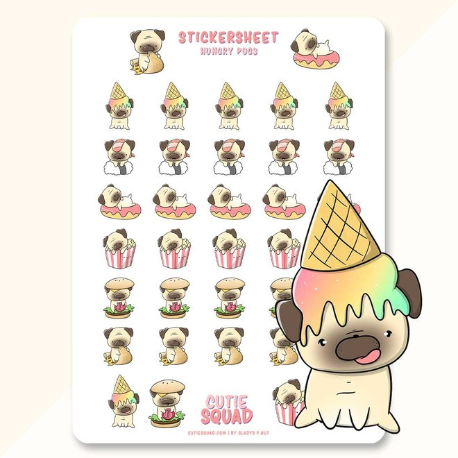 CutieSquad Stickervel - Pugs eating food