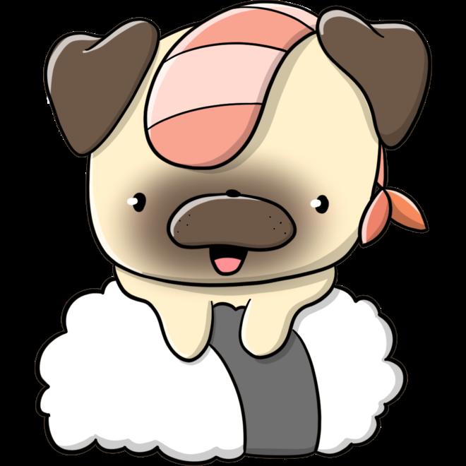 CutieSquad Stickerset - Pugs with food