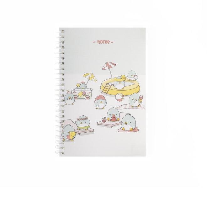 A5 Notebook - Summer Penguins
