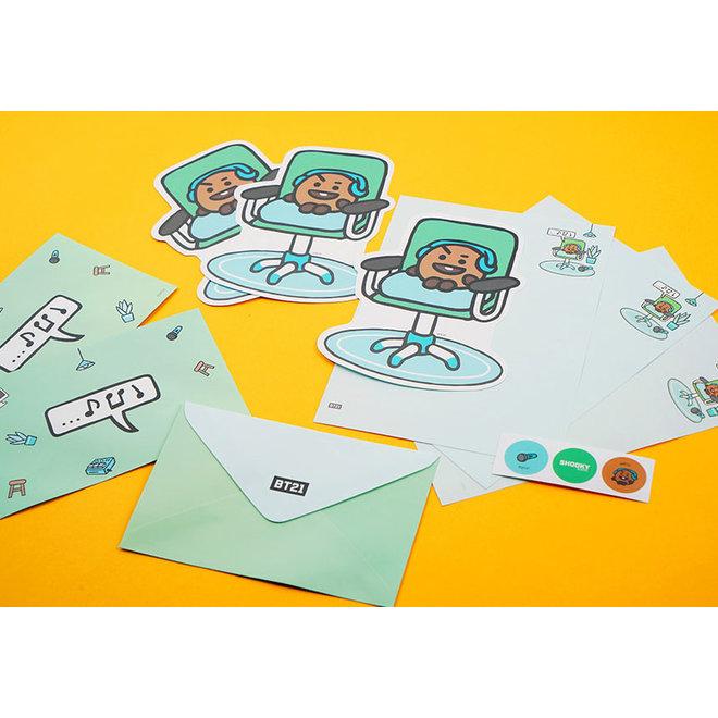 BT21 Briefpapier set met enveloppen en stickers - COOKY