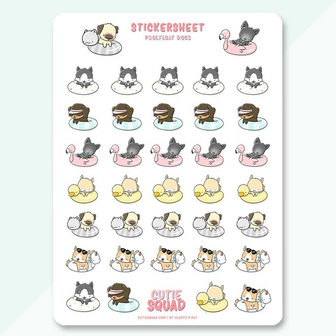 CutieSquad Stickervel - Poolfloat Dogs (LIMITED!)