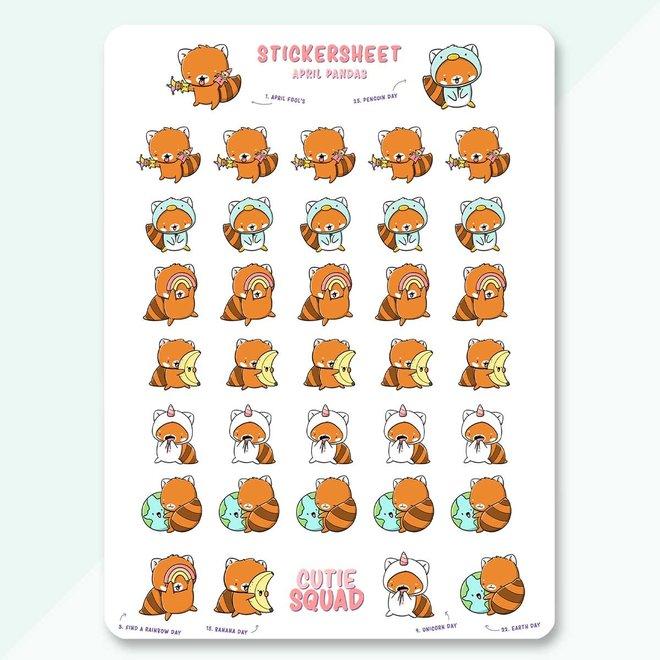 CutieSquad Sticker sheet - April Pandas (LIMITED!)