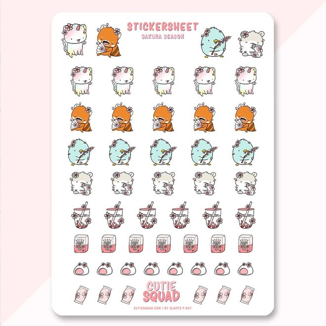 CutieSquad Sticker sheet - Sakura Season