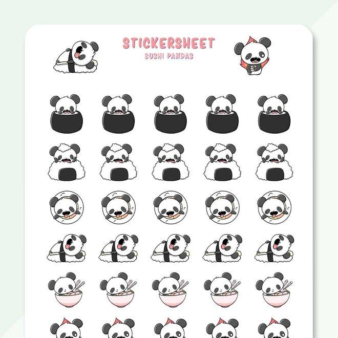 CutieSquad Sticker sheet - Sushi Pandas (LIMITED!)