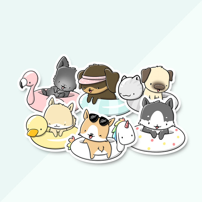Sticker set - Dogs Poolfloat (LIMITED!)