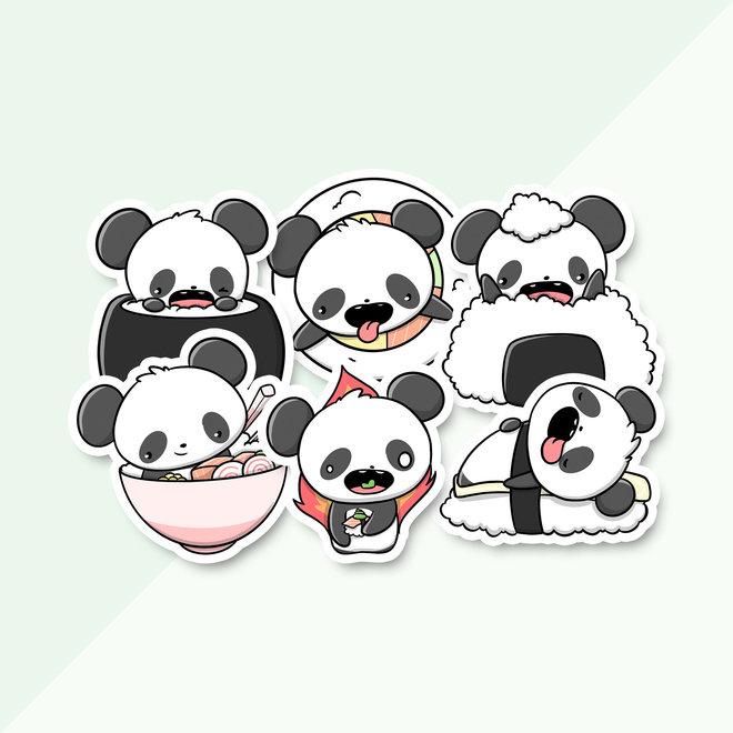 Stickerset - Sushi Pandas (LIMITED!)