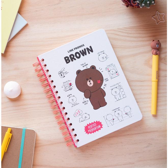 Line Friends hardcover bullet journal - Brown