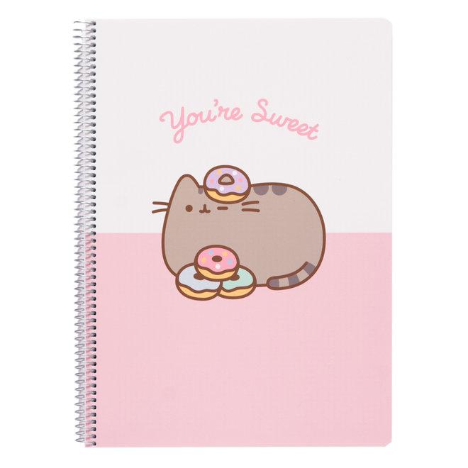 Pusheen A4 notebook met ruitjes - You're sweet