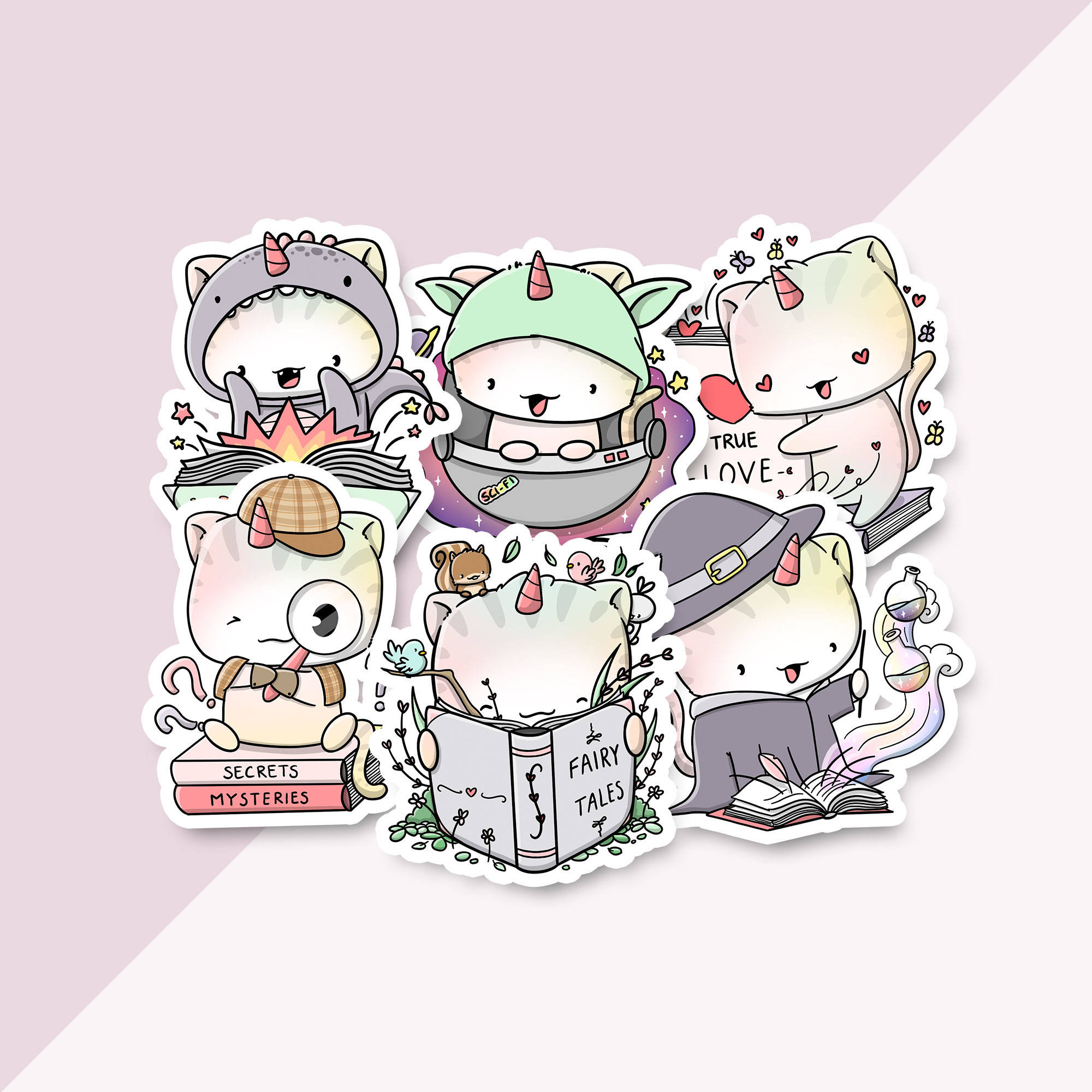 CutieSquad Stickerset - Unikitties Book Lovers (LIMITED!)