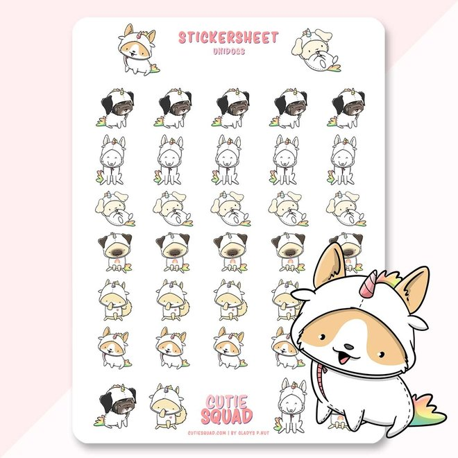 CutieSquad Sticker sheet - Dogs Unicorns (LIMITED!)