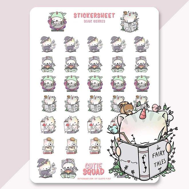 CutieSquad Sticker sheet - Unikitties Book lovers (LIMITED!)