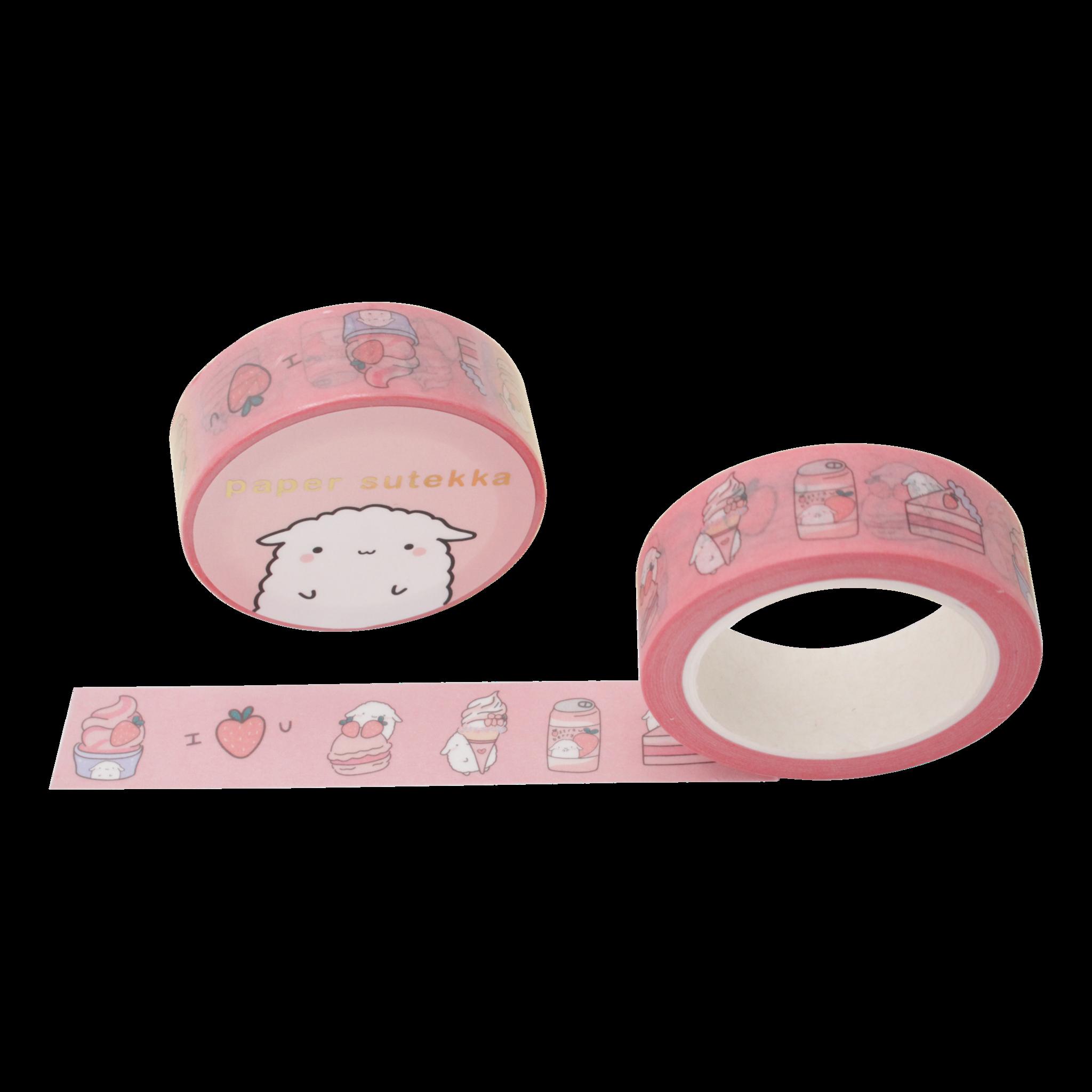 Paper Sutekka Washi Tape - Mochi Strawberry Desserts