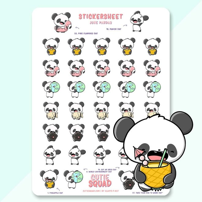 Sticker sheet - June Pandas (LIMITED!)