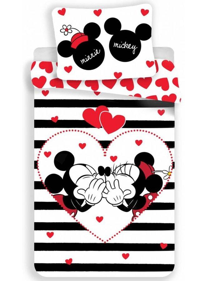 Dekbedovertrek- Disney Minnie Mouse Stripe- Eenpersoons-140x200 cm - Multi