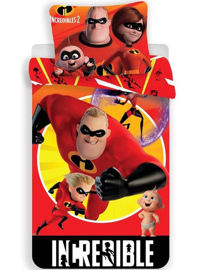 Dekbedovertrek- The Incredibles II - Eenpersoons- 140x200 cm- Rood