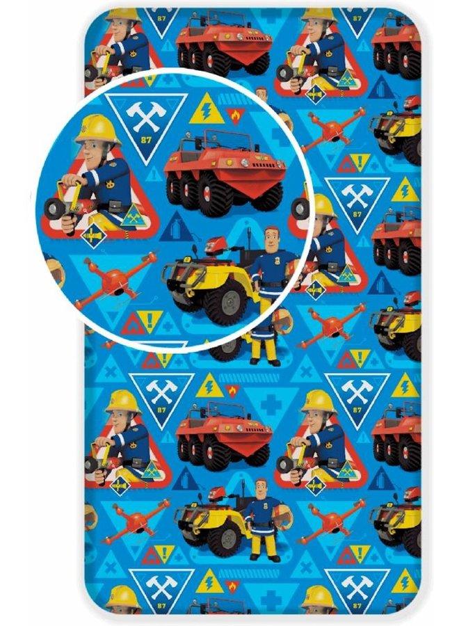 Hoeslaken- Brandweerman Sam- Eenpersoons- 90x200 cm - Blauw