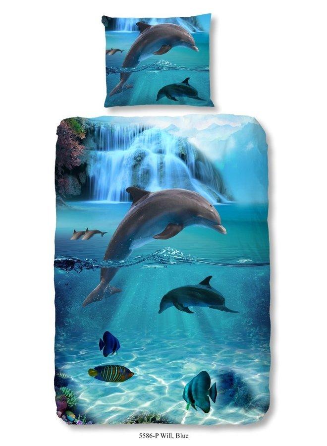 Kinderdekbedovertrek Good Morning Katoen nr.5586 - Blauw - Dolfijnen