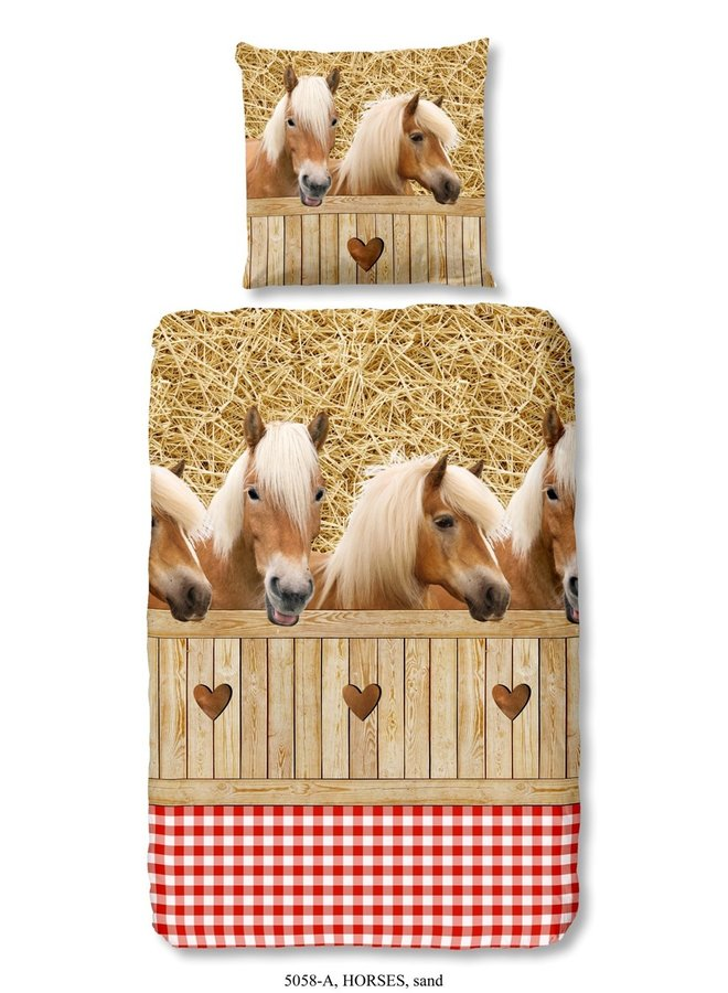 Kinderdekbedovertrek Good Morning Katoen nr.5058 - Zand - Paarden