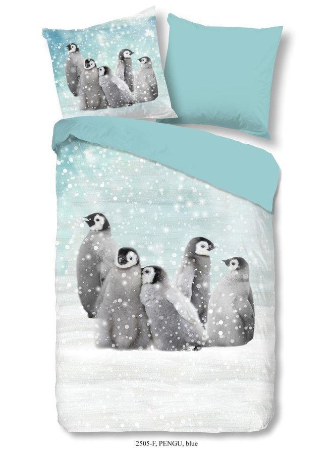 Kinderdekbedovertrek Good Morning Katoen nr.2505 - Blauw - pinguïn