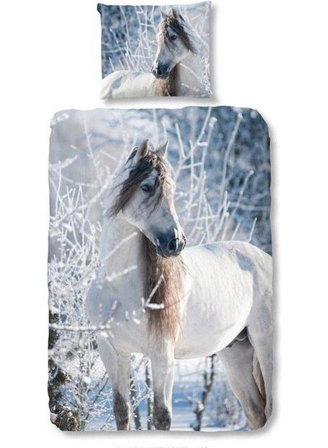 Good Morning White Horse - Flanel - Dekbedovertrek - Eenpersoons - 140x200/220 cm + 1 kussensloop 60x70 cm - Multi