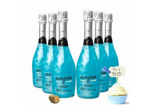 Cloudem 6 Flessen Cloudem Blue Mousserende Alcoholvrije Glitter Wijn Blauwe Bessen