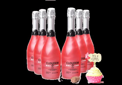 Cloudem 6 Flessen Cloudem Rosé Mousserende Alcoholvrije  Glitter Wijn Framboos