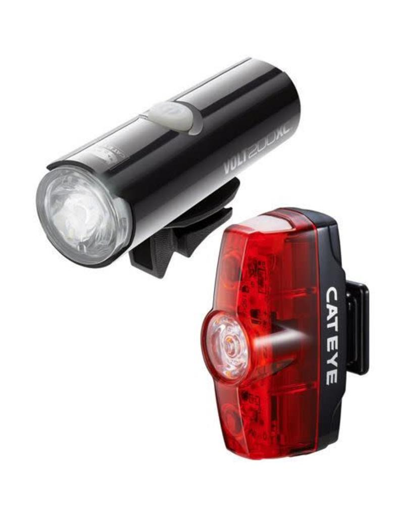 Cateye VOLT 200 XC FRONT LIGHT & RAPID MINI REAR USB RECHARGEABLE LIGHT SET: