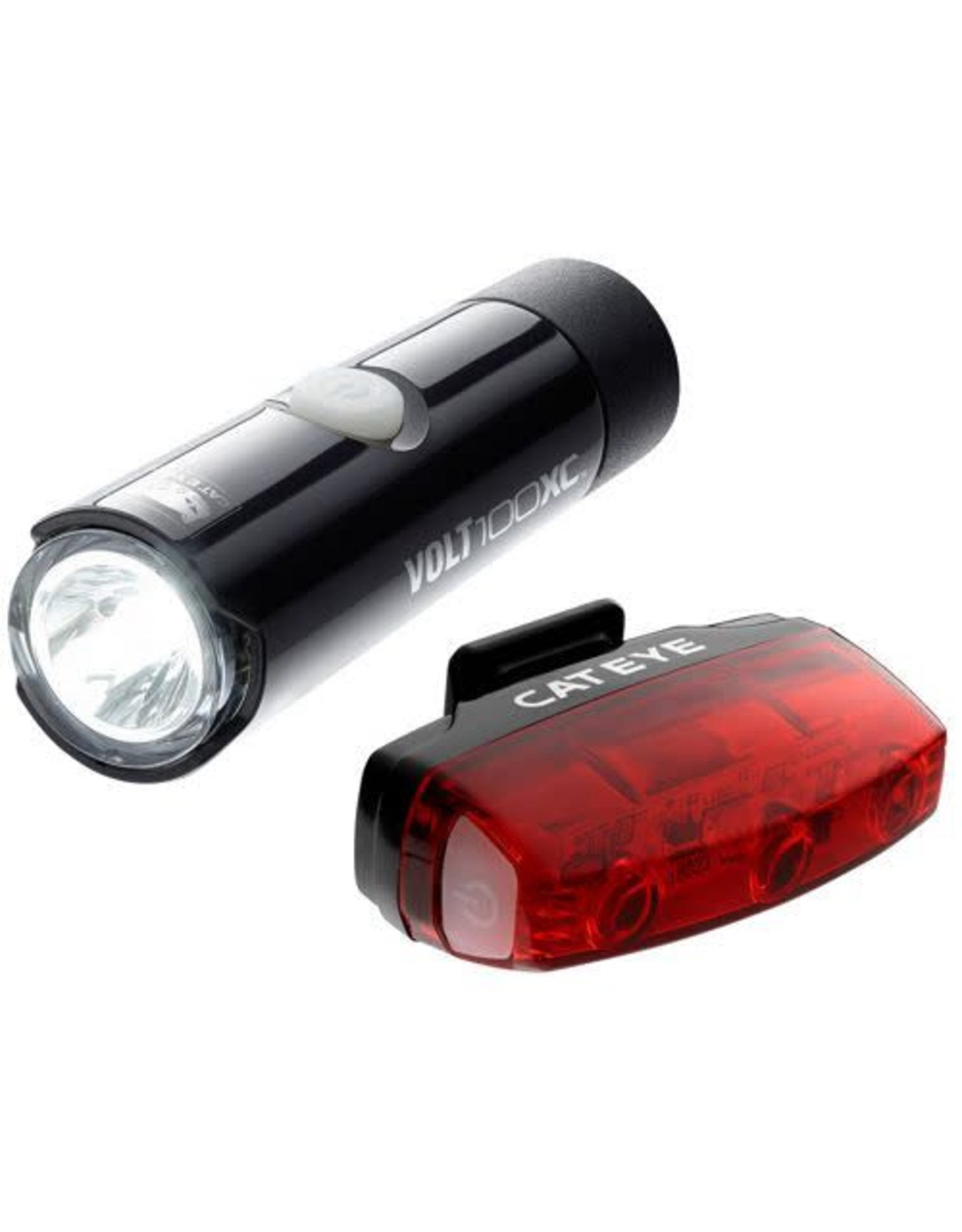 Cateye VOLT 100 XC FRONT LIGHT & RAPID MICRO REAR USB RECHARGEABLE LIGHT SET: