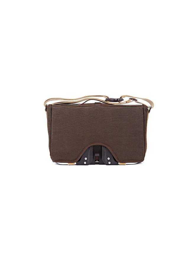 Roll Top Bag in Khaki waxed canvas