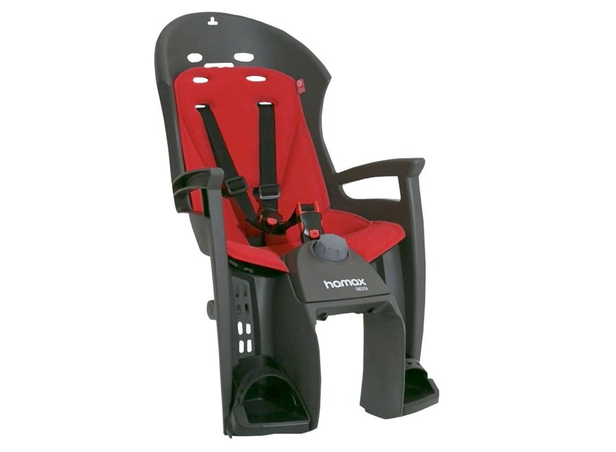 HAMAX SIESTA CHILD BIKE SEAT PANNIER RACK VERSION: GREY/RED