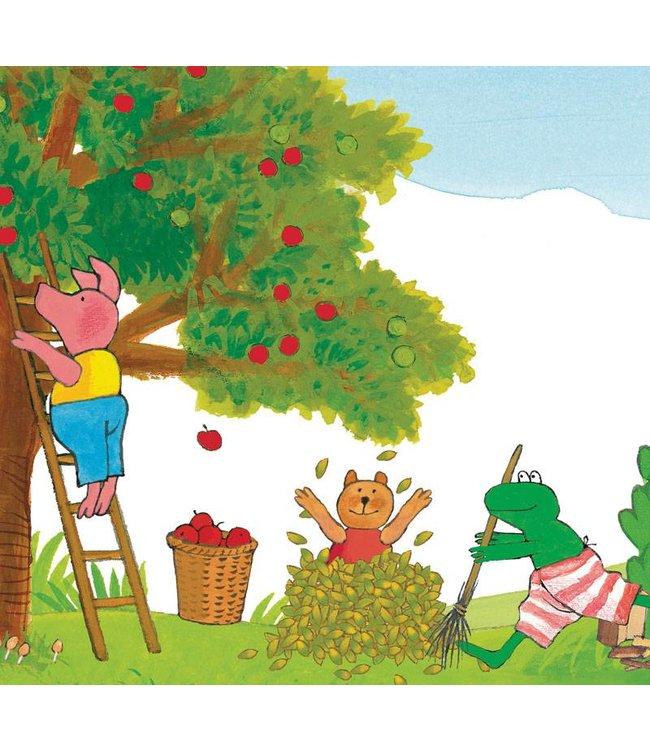 Kikker / Frog Fototapete für Kinderzimmer Frog Picking Apples, 292.2 x 280 cm