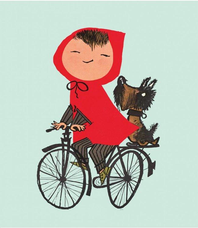 Fiep Westendorp Fototapete für Kinderzimmer Riding my Bike, Grun, 243.5 x 280 cm
