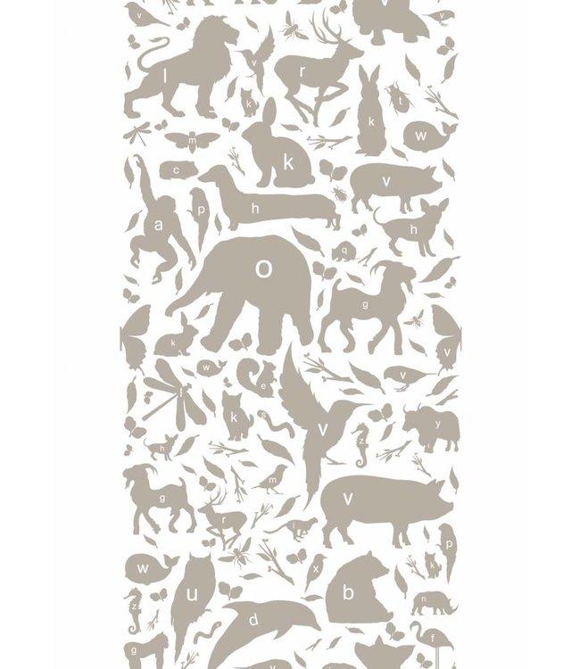 Tapete für Kinderzimmer ABC Animals, Taupe