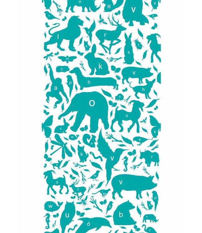 Tapete für Kinderzimmer ABC Animals, Turquoise