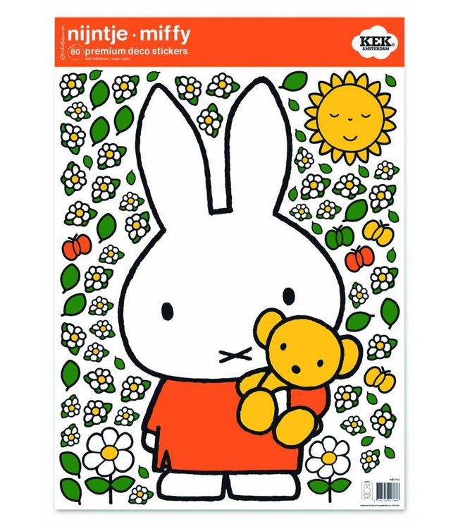 Nijntje / Miffy Miffy Wandtattoos Miffy with little bear, 42 x 59 cm
