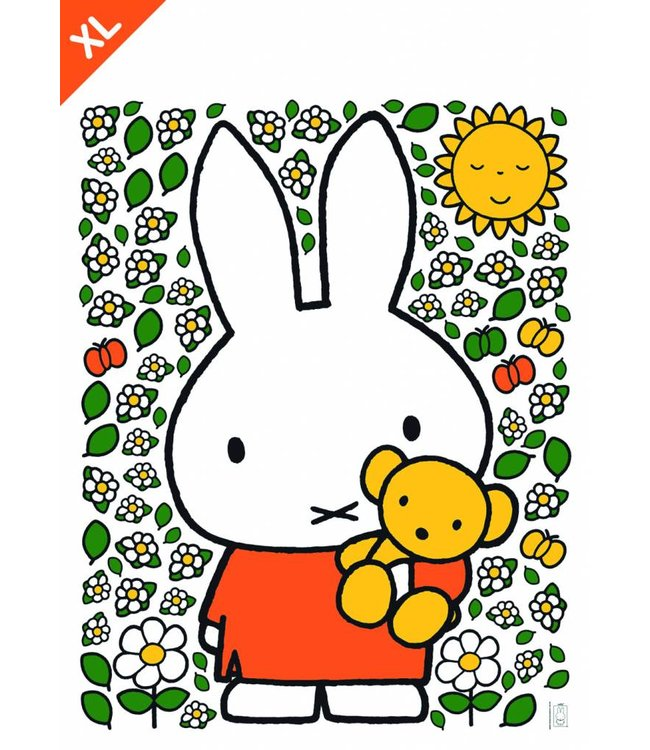 Nijntje / Miffy Miffy Wandtattoos Miffy with little bear and flowers XL, 94 x 120 cm