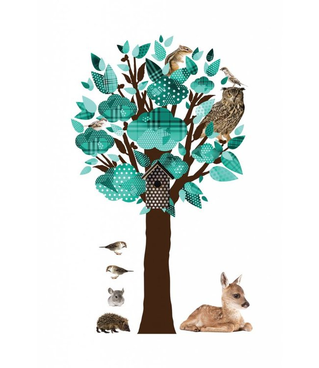 Wandtattoo Forest Friends Tree, Turquoise, 88 x 145 cm
