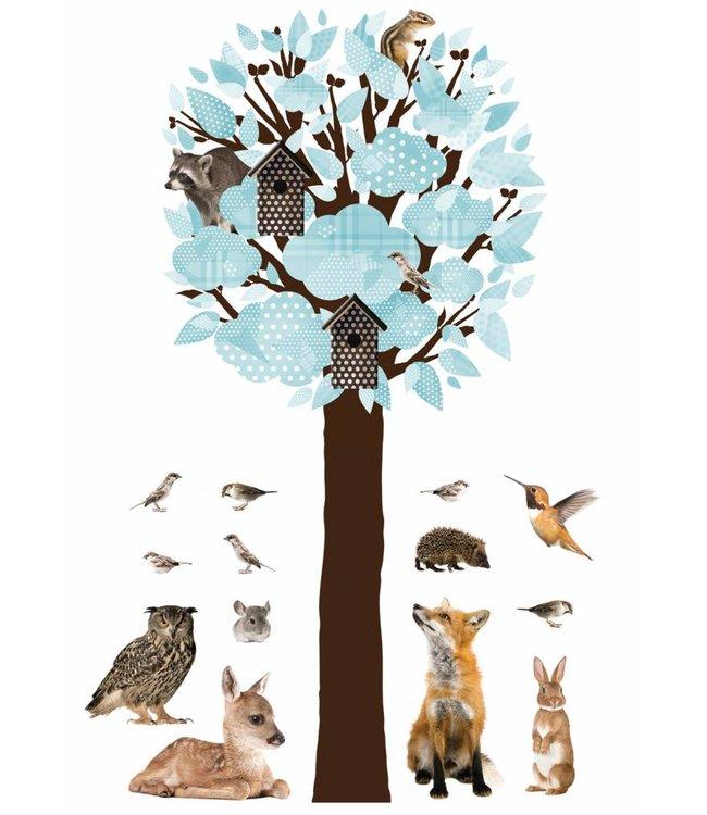 Wandtattoo Forest Friends Tree XL, Hell Blau, 95 x 200 cm